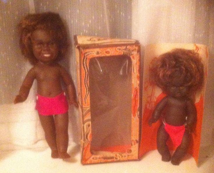 VINTAGE 1970S MATTI NETTA AUSTRALIA ABORIGINAL RUBBER BOXED BOY & MAN DOLL | 14+4