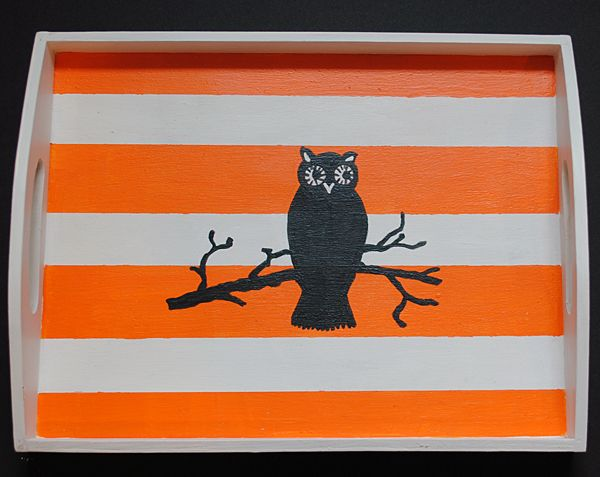 Painted Halloween Owl Tray - DIY - The Graphics Fairy
