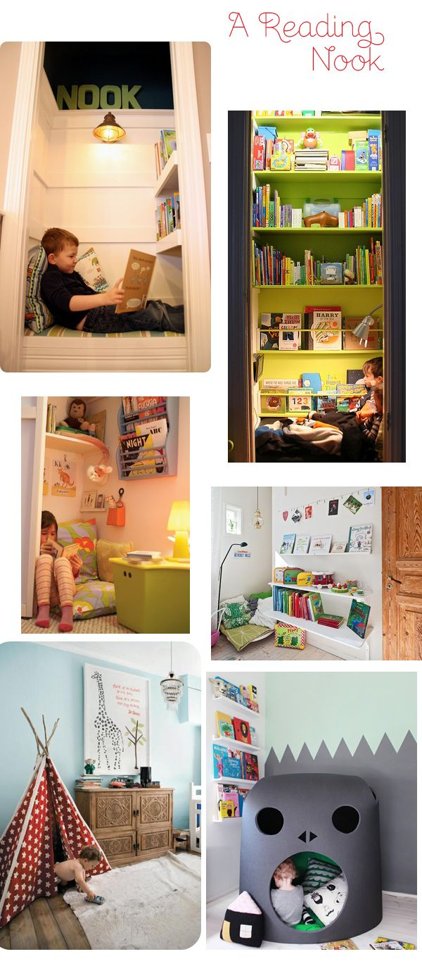 Reading nook ideas. We have spots in the kids' rooms ready for a reading nook...just have to get it put together!