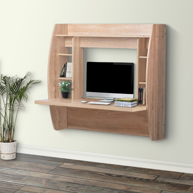 devaise wall mounted computer desk with storage oak
