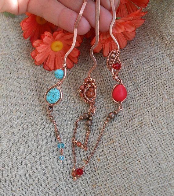 Hairpin Copper Hairpin Hairpin copper Hairpin with stone