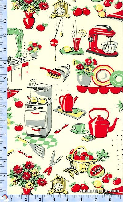 Retro 50's Kitchen Appliances on Cream - Food & Beverages, Elkabee's Fabric Paradise.com, LLC