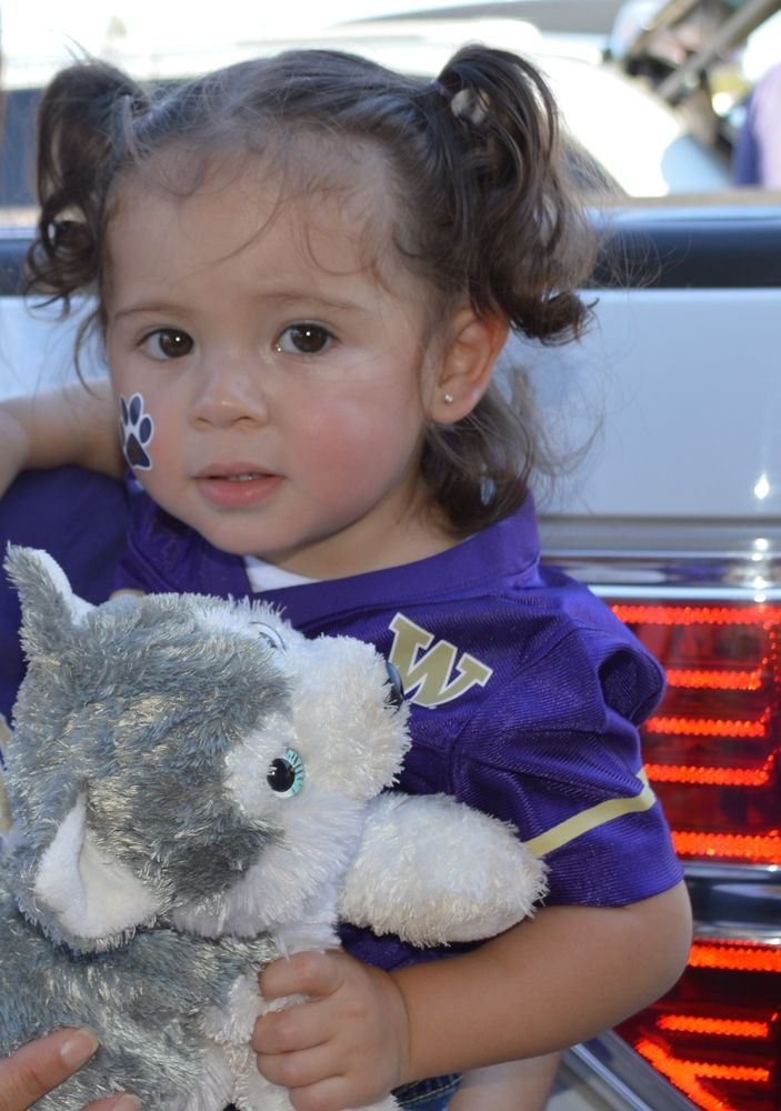 First Husky Game Catalina enjoying the first of many Husky games. Photo by Dalia	Chavez-Isiordia
