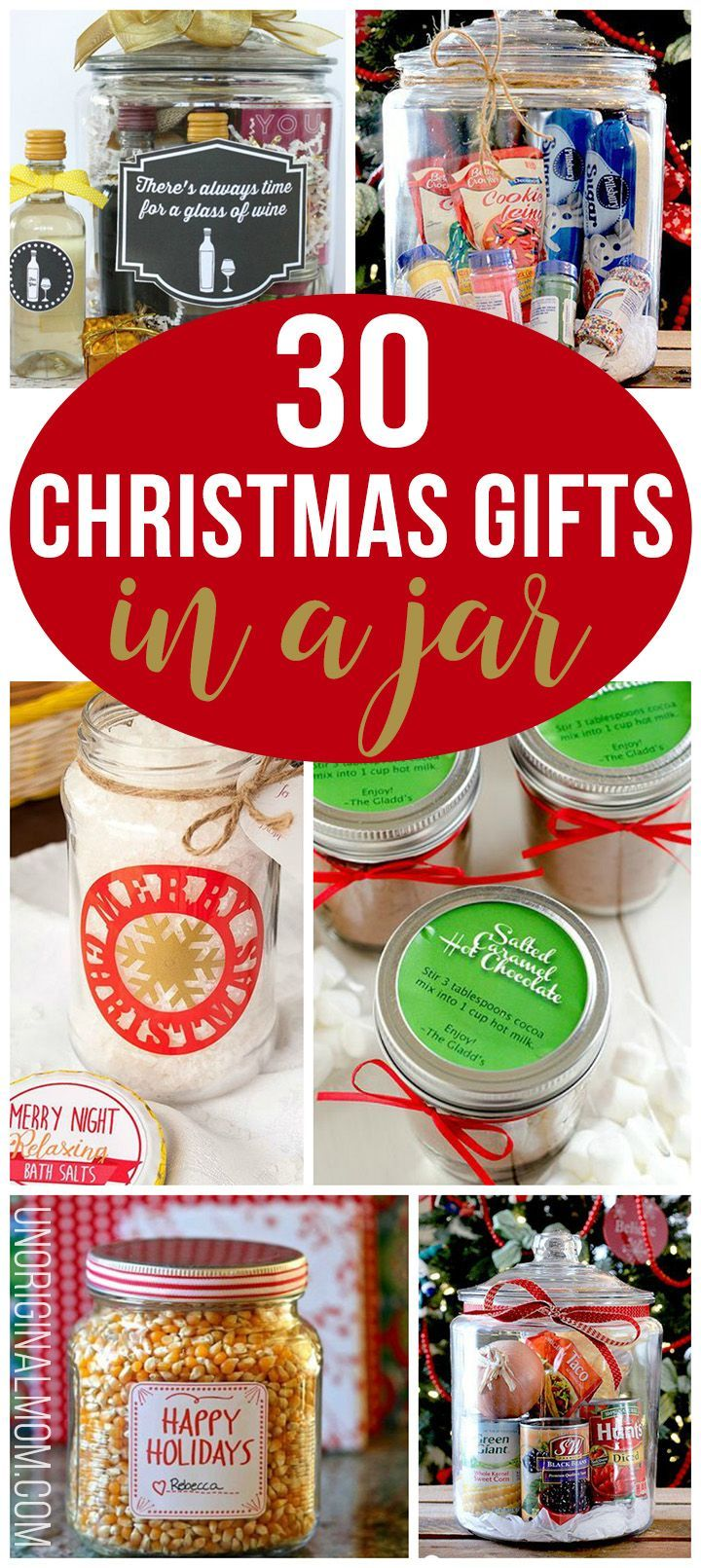 Christmas gifts in a jar are a great way to do fun, personal, and unique gifts on a budget. Here are 30 amazing ideas to get your inspiration flowing!