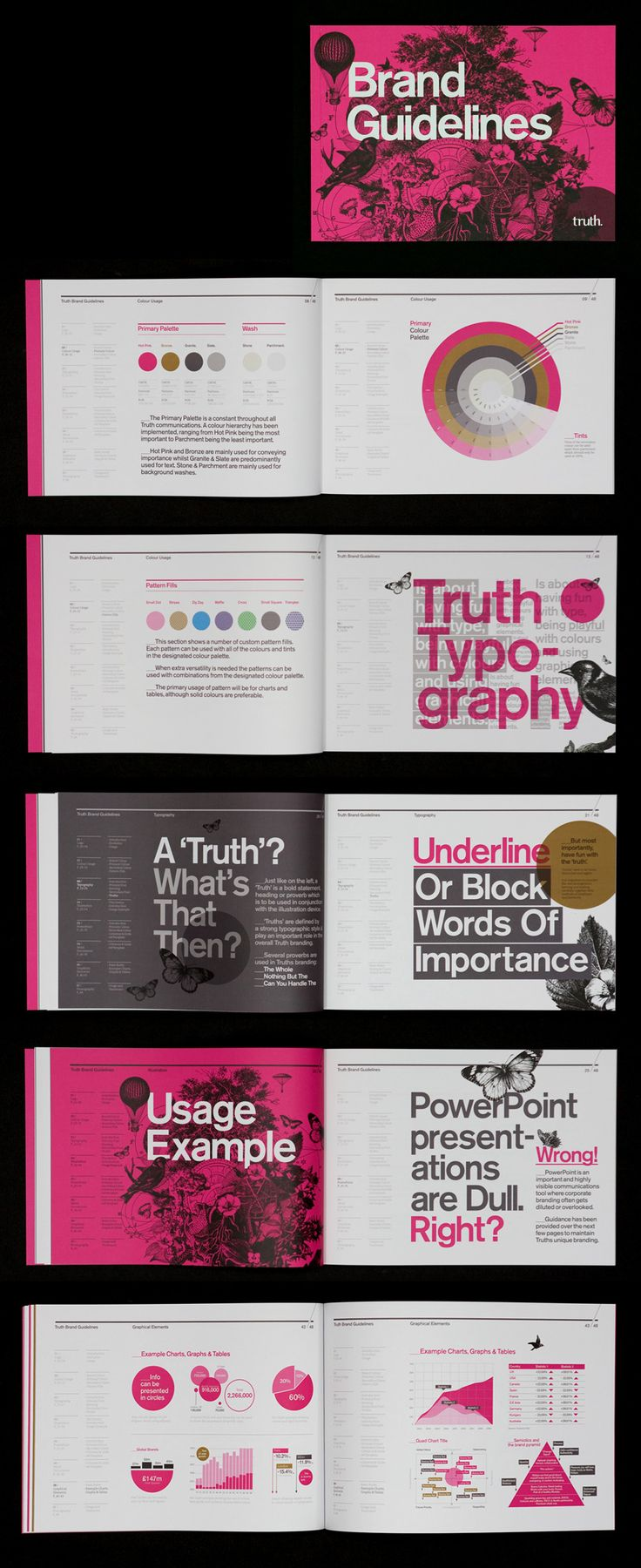 Truth Brand Guidelines [Designer - Mash Creative] Although these are brand guidelines, I am attracted to some of the typography formatting used as well as the colour pallet.