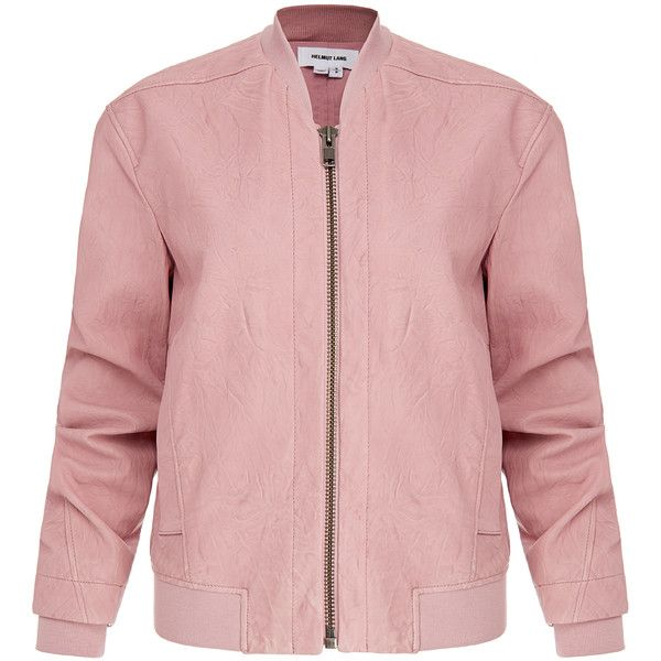 Helmut Lang Pink Leather Bomber Jacket (€430) ❤ liked on Polyvore featuring outerwear, jackets, kurtki, tops, pink, leather flight jacket, pink motorcycle jacket, real leather jacket, leather biker jacket and pink moto jacket