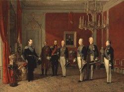 Ferdinand Georg Waldmüller - Großfürst Alexander von Russland empfängt den Staatskanzler Fürst Metternich in der Wiener Hofburg 1839
