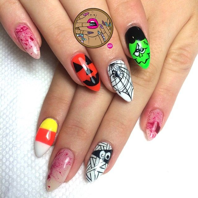 #Halloween ready! Natural nail all gel manicure to book me in VA, please book online at styleseat.com/nailsbyregina