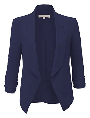 RubyK Womens Lightweight Open Front Draped Tuxedo Blazer Jacket Navy Size S