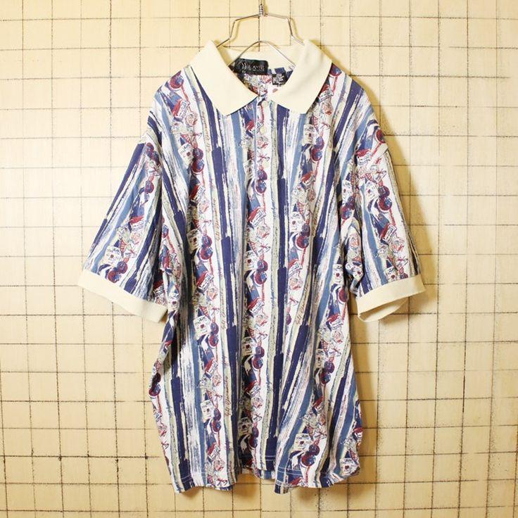80s 古着 ゴルフ 総柄 ポロシャツ 半袖 ホワイト ブルー メンズM