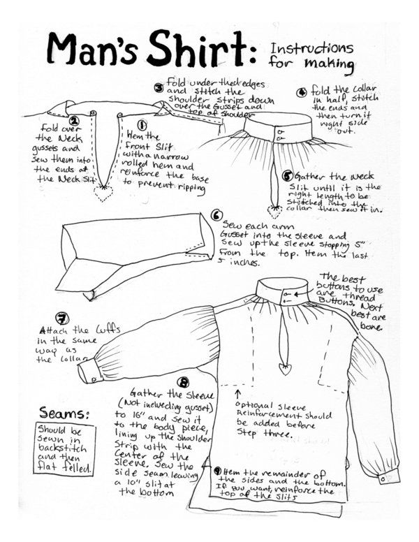 18thC Man's Shirt Instruction by ~Goldenspring on deviantART