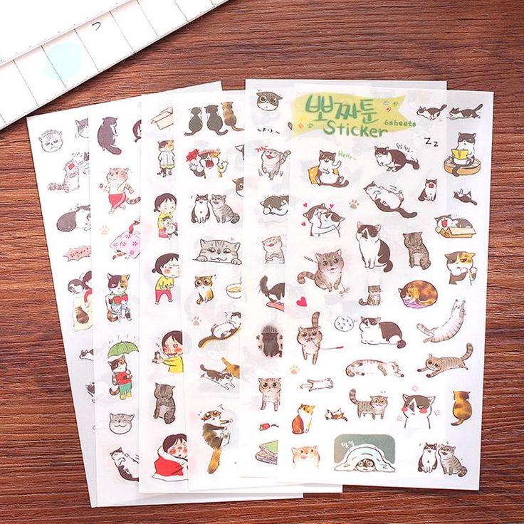 6Sheet/Pack New Transparent PVC Stickers Korea Creative Cute Black And White Cat Diary Sticker