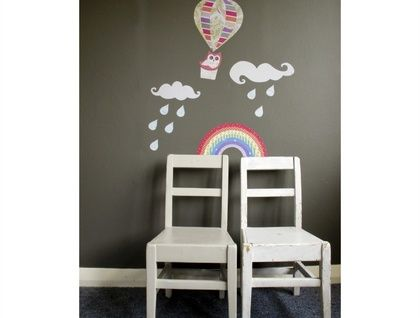 Up, Up & Away - whimsical wallscape - restickable fabric wall stickers. Tinch. $89