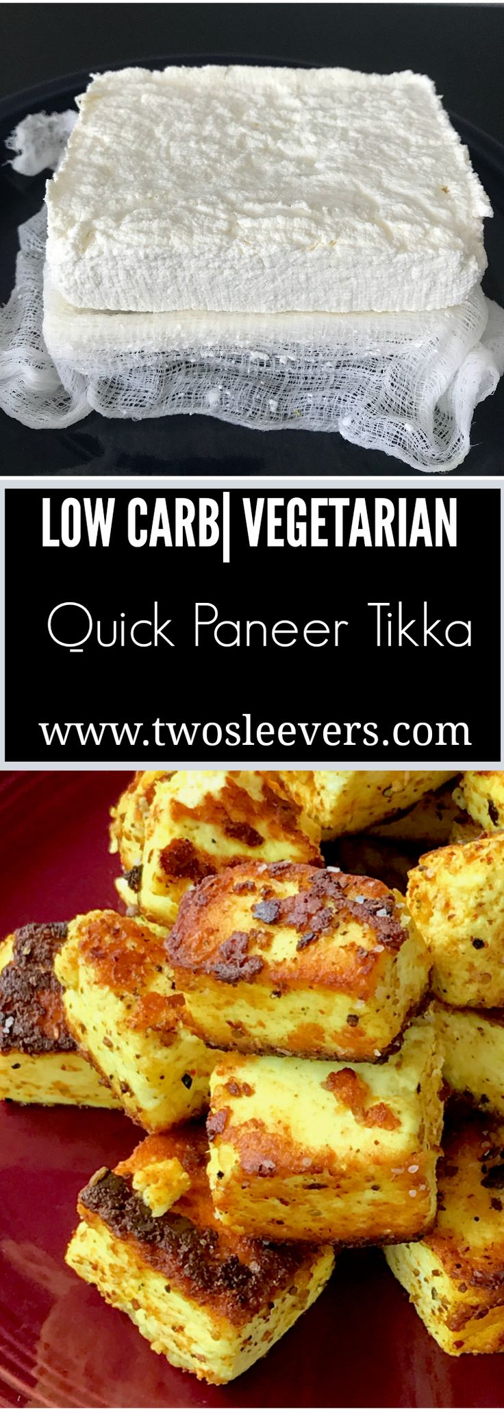 Low Carb Vegetarian Paneer tikka. Spiced paneer, panfried quickly in ghee for a savory, Indian snack. Find a recipe for homemade paneer as well at www.twosleevers.com