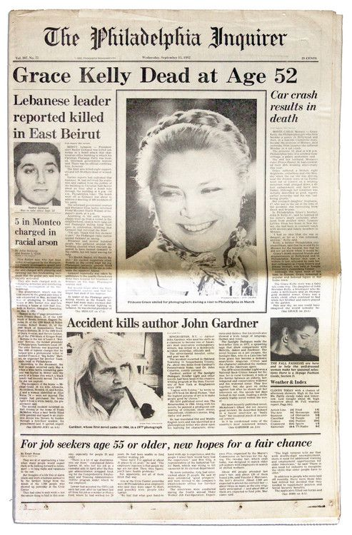 September 14, 1982: Princess Grace of Monaco (Grace Kelly) dies in a car crash