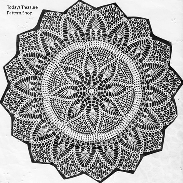 Pineapple Lace Centerpiece Crochet Doily Pattern Design 191