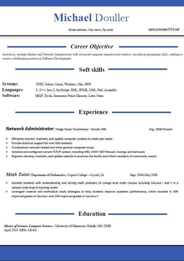 Resume Format Free Download Resume Examples Free Resume Templates - network administrator resume sample