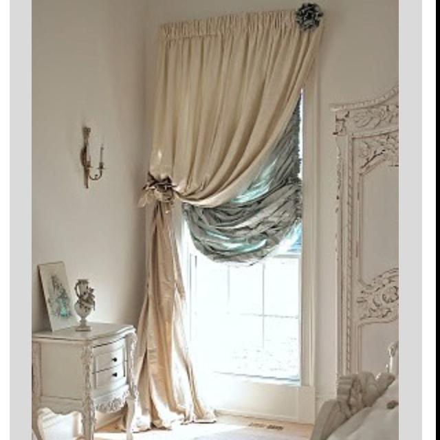 Double curtain rods drapes pinterest double curtain - Shabby chic curtain poles ...