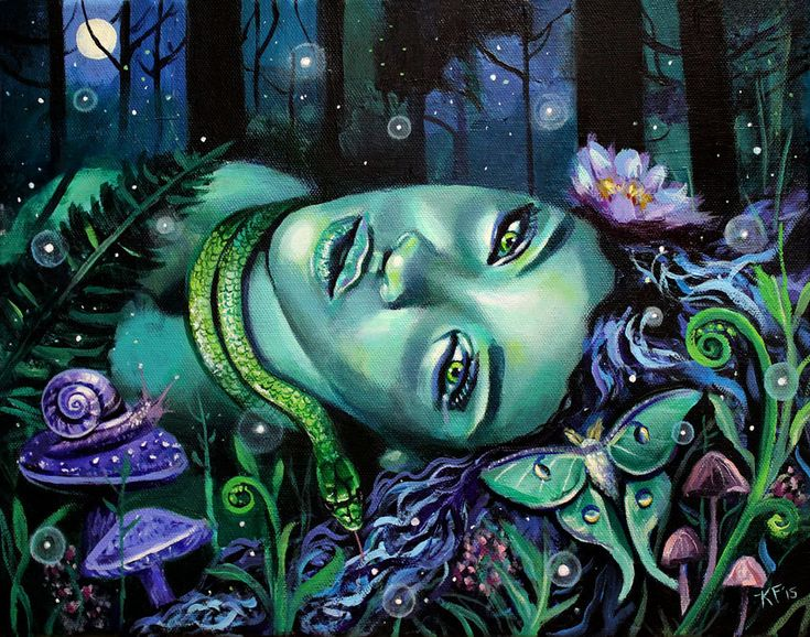 "10 x 8, Fine Art Print, ""Gaia's Lullaby"", painting by Kamille Freske, Mother Earth, pagan art, wiccan art, fantasy art, fairy art, goddess by AuroraEventide on Etsy"