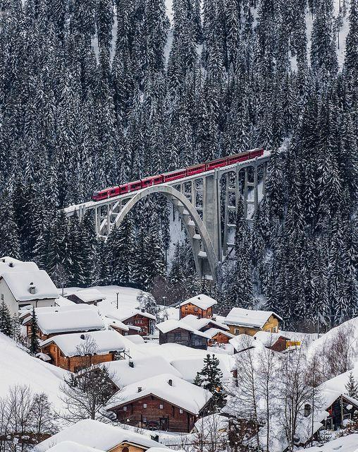 Rhätische Bahn on the Viadukt of Langwies, Graubünden, Switzerland