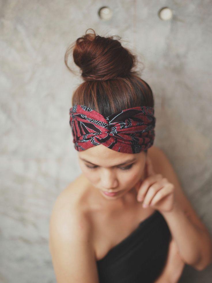 Cute bun with turban wrap headband. Great casual hair style for lazy days.
