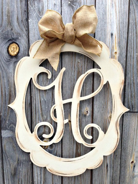 Monogram Door Decor Vintage Modern Distressed by ladeedahart $59.00 & 13 best Monograms images on Pinterest | Monogram door decor ...