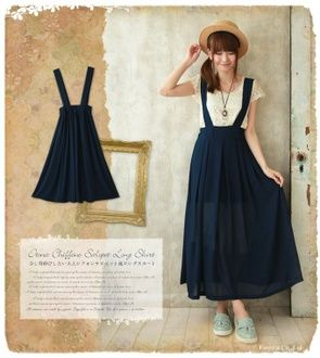 Translucency of I .+ ゜ chiffon which stretched itself with chiffon salopette long skirt translucency pleats chiffon only a little is adult natural salopette style long skirt .+ ゜
