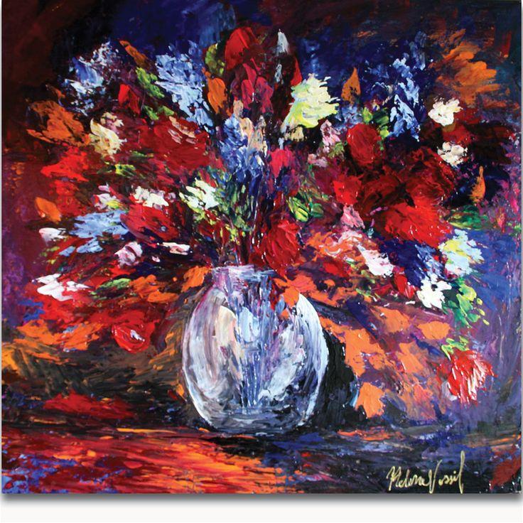 Exotic Flowers Size: 30x 30 x 2 in. Medium used: Acrylic