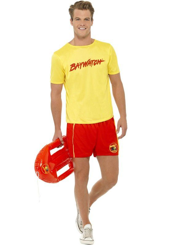 smiffys baywatch menu0027s beach costume with top and shorts kids toys costumes