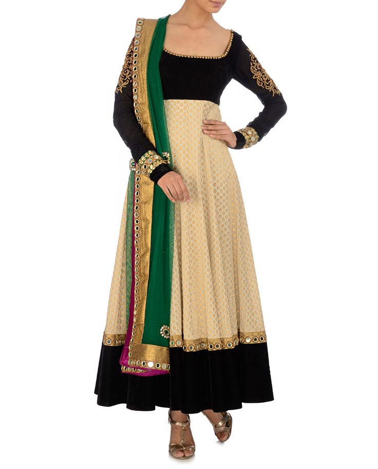 Cream and Black Anarkali Suit with Green Dupatta