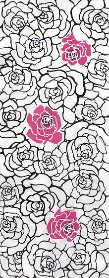 紅や注染手ぬぐい てのごい「薔薇がいっぱい・黒」