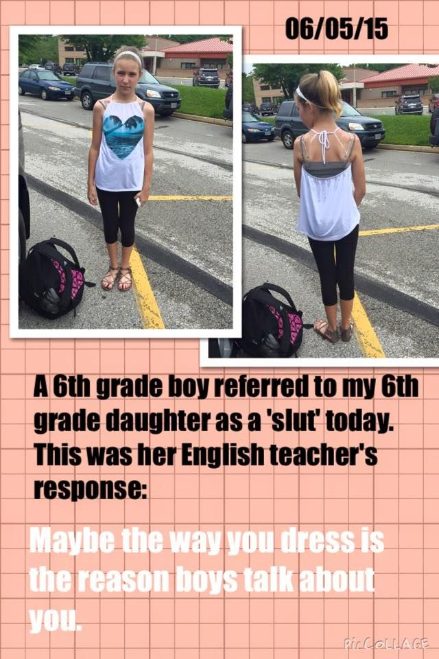 Teachers like that should be fired. And the boy should be in detention. This is the biggest problem, we blame the girls for existing and not dressing in fucking paper sacks instead of punishing the boys for their behavior.