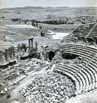 Γέρασα, Ιορδανία, 1946. Αρχαία Γέρασα, το νότιο θέατρο.