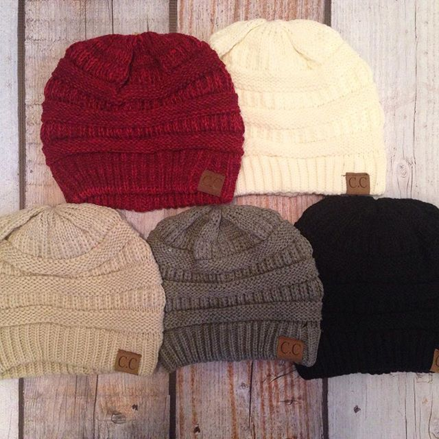 C.C. Hats are back! $14.99 each or 2 for $27. ▪️Top Row: Two Toned Burgundy & Ivory ▪️. ▪️Bottom Row: Beige, Light Grey (sold out) & Black ▪️. To purchase please comment with your email address, the color you want and your state or visit our post at www.facebook.com/royalravenboutique Limited quantities available!  #ccknits #ccknithats #royalravenboutique #womensapparel #womensaccessories #boutique #cchats #instashop #restock #winterhat #itscoldoutside #knithats #knithatseason