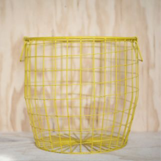 Down to the Woods Wire Basket Large - Yellow The uses are endless. Decorative, practical, fill them or even turn them upside down for a stool or a side table. Large is perfect for a pot, the potoatoes and even fits a load of washing! INSTORE + ONLINE NOW