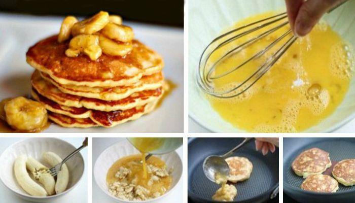 Ингредиенты:   Яйцо - 2 шт. Банан - 2 шт. Специи - по вкусу    Приготовление:   1.Раздавите банан вилочкой, не перестарайтесь чтоб не получилось слишком жидко. взбейте яйца. Перемешайте.  2.Добавьте корицу или мускатный орех. Если хочется шоколадного вкуса, добавьте какао.  3.Обжарьте с обеих сторон на антипригарной сковороде без масла. если нет хорошей сковороды можно попробовать запечь в духовке на бумаге. сверху можно полить йогуртом или сиропом без сахара. Приятного аппетита! ...