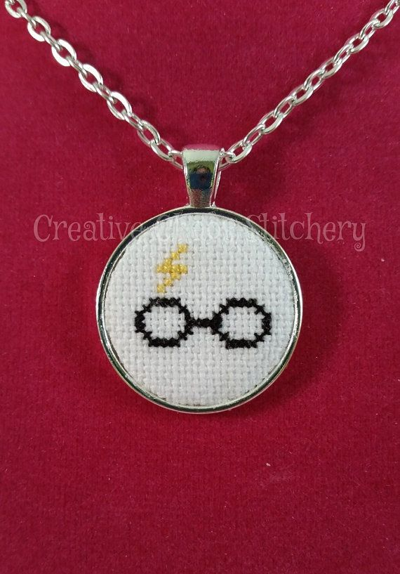 Cross Stitch Necklace Book & Movie Glasses by chaoticstitchery