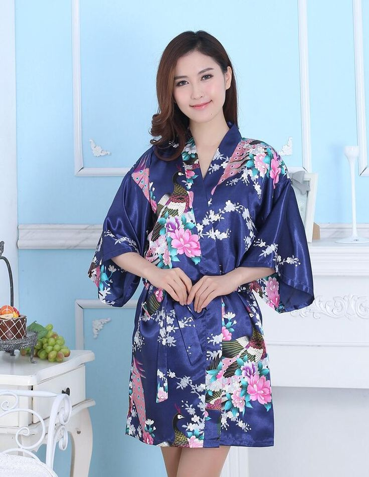 Multicolor Women Kimono with Belt Long Female Satin Pajamas Summer Lady Bathrobe Five Sleeve Chinese Traditional Costume 16