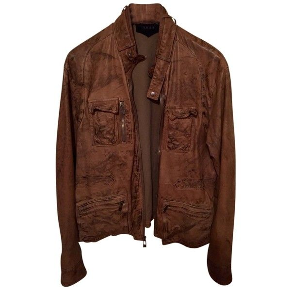 Pre-owned Brown Leather Jacket ($264) ❤ liked on Polyvore featuring plus size women's fashion, plus size clothing, plus size outerwear, plus size jackets, outerwear, genuine leather jackets, 100 leather jacket, brown leather jacket, brown jacket and real leather jackets