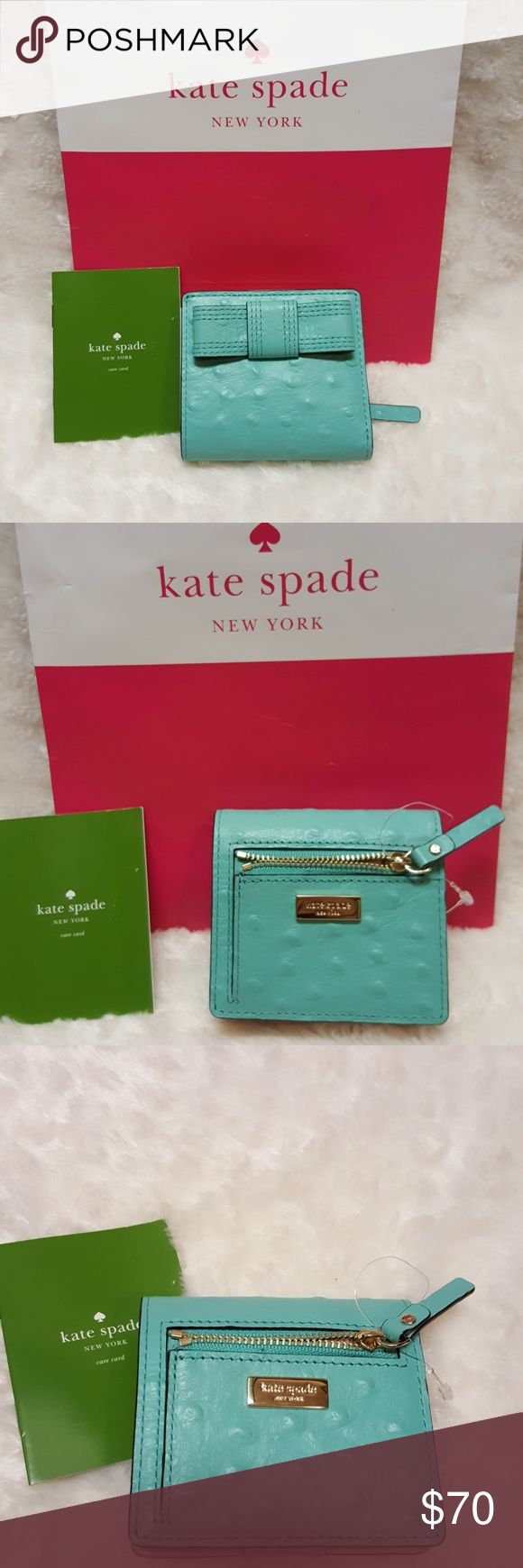 """KATE SPADE SERANADE VALENCIA ROAD WALLET Wallet Features:  LEATHER KATE SPADE BOW ON EXTERIORKANE-M SNAP ENCLOSURE 3 Leather Credit Card Slots1 Bill-Length Slide Pocket Inside1 ID Pouch with an Additional Card Slot Below ItZipped Change Pocket on Exterior with Leather Zipper PullSignature Logo Plaque on Top Exterior FrontGold Plated HardwareLined in Signature Tan Sateen and Soft Camel Glove Leather""""fresh air"""" Color -which is a Pretty Turqoise Blue?Approx. Measurements - 4"""" (W) X 3 1/2"""" (H) X…"""