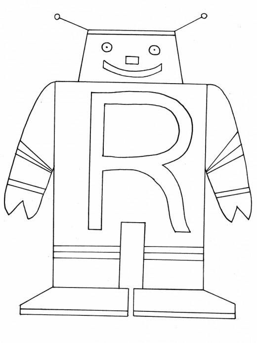 R Robot Alphabet Coloring Pages Book