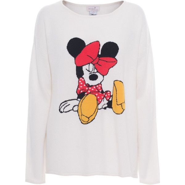 Rosa von Schmaus Sleeping Minnie Off-White // Oversize cashmere... ($190) ❤ liked on Polyvore featuring tops, sweaters, shirts, jumpers, mickey mouse shirt, off white tops, mickey mouse sweater, oversized tops and cashmere shirt