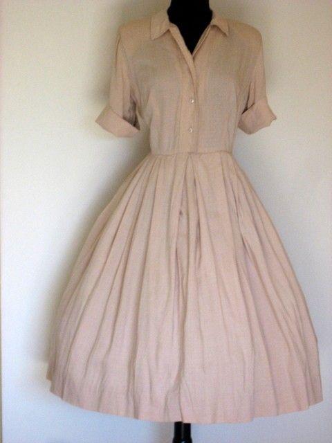 white dressy shirtwaist vintage dresses