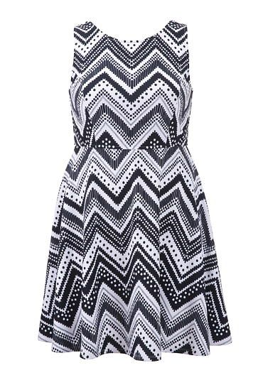 Shop Top Picks From Girl With Curves | plus size chevron dot and stripe pattern dress #maurices