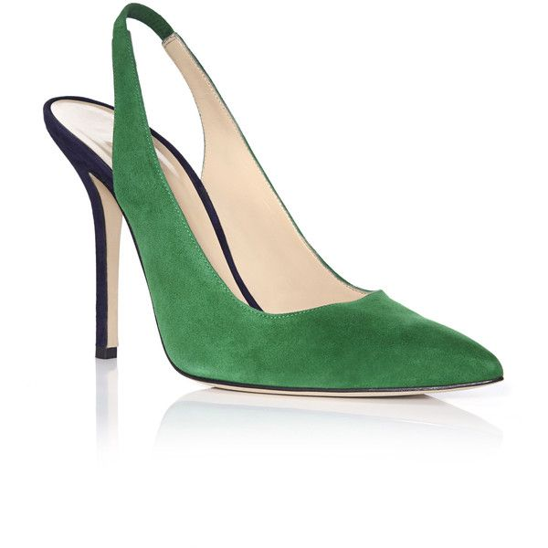 Oscar de la Renta Ivy & Marine Laura Slingback Pumps (3.970 VEF) ❤ liked on Polyvore featuring shoes, pumps, oscar de la renta pumps, leather slingbacks, ankle wrap shoes, ankle wrap pumps and leather sole shoes