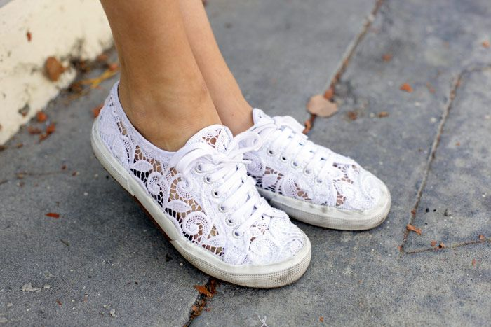 lace sneakers...if I had these I'd wear sneakers all the time! Otherwise I hate the look of tennis shoes
