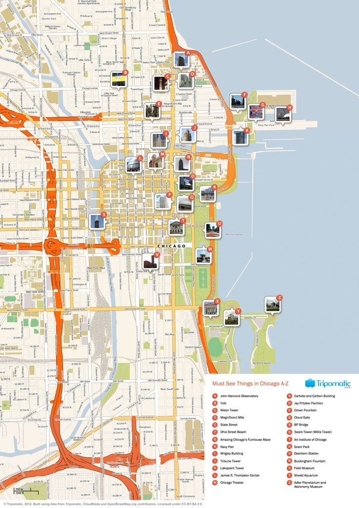 Map of Chicago tourist sights and attractions from Tripomatic.