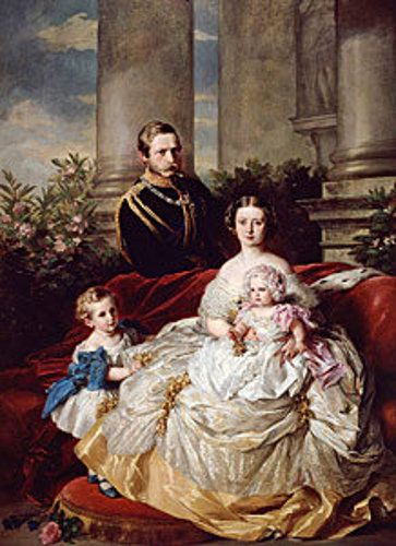 Victoria, Princess Royal, and Frederick, Prince of Prussia with their children William and Charlotte, by Winterhalter.: Queen Victoria