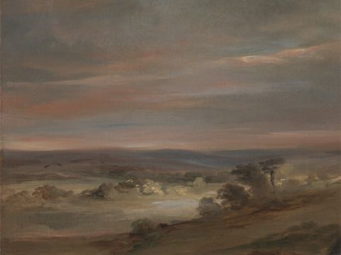 Attributed to John Constable, 1776–1837, British, A View on Hampstead Heath, Early Morning, ca. 1821, Oil on canvas, Yale Center for British Art, Paul Mellon Collection