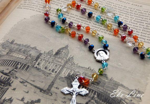 Mother of Dolorosa Catholic Rosary.  Handmade. Crystal Rosary. Rainbow Rosary. Catholic Jewellery. on Etsy, $49.19